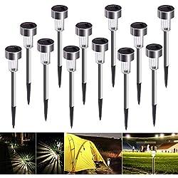 Luces Solares Jardín LED Bawoo,IP65 Lámpara de Camino de Paisaje Acero Inoxidable Blanco Impermeables Para Patio,Césped,Pasillo,Instalación Fácil Sin Cables(12 pack)
