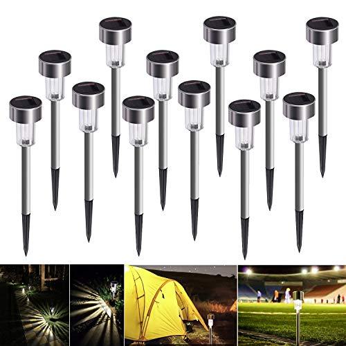 Lampe Solaire Exterieure Jardin au Sol, Bawoo 12pcs Lampe Jardin Sans Fil LED Décoration Eclairage...