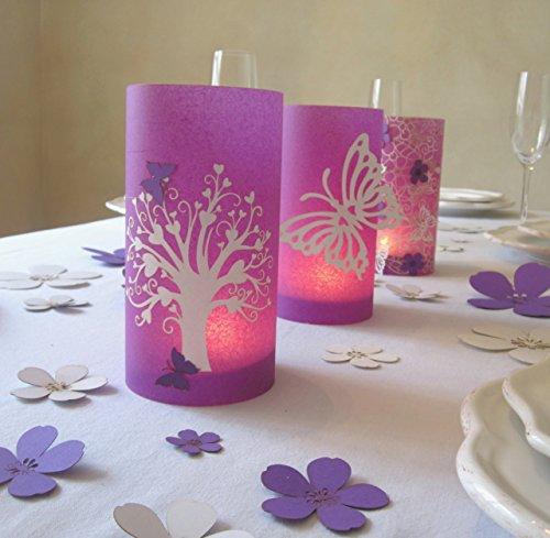 Kommunion   Windlicht   Tischdeko   mit Herzbaum   9 cm Durchmesser höhe 16cm lila 1stk