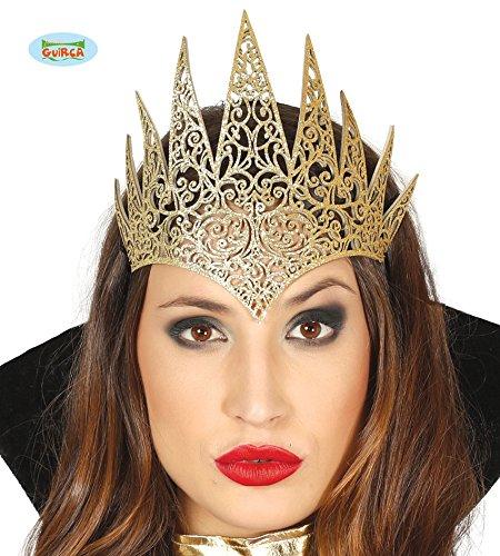 Guirca goldenes Diadem Tiara Krone für Damen Königin Prinzessin Herrscherin Karneval Fasching