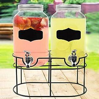 AQS INTERNATIONAL 2x 3.5L Vintage Double Glass Cold Drink Dispenser Barrel Jars With Stand & Chalk