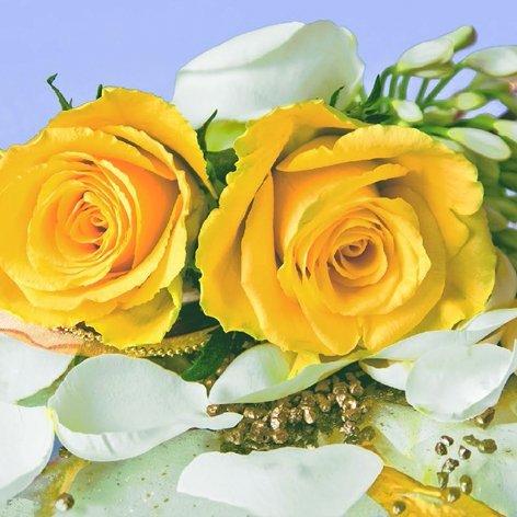 20 Servietten Hochzeit Heirat Kirche Feier Rosen-Strauß gelb Geburtstag 33 x 33cm