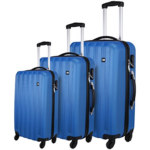 Nasher Miles Blue Abs Hard Luggage Set Of 3 Trolley/Travel/Tourist Bags (55, 65 & 75 Cm)