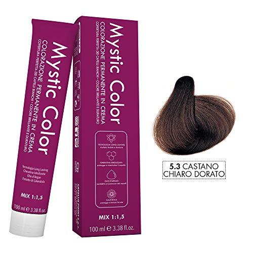 Mystic color - castano chiaro dorato 5.3 - colorazione professionale permanente in crema con olio di argan e calendula - tinta per capelli long lasting - 100ml