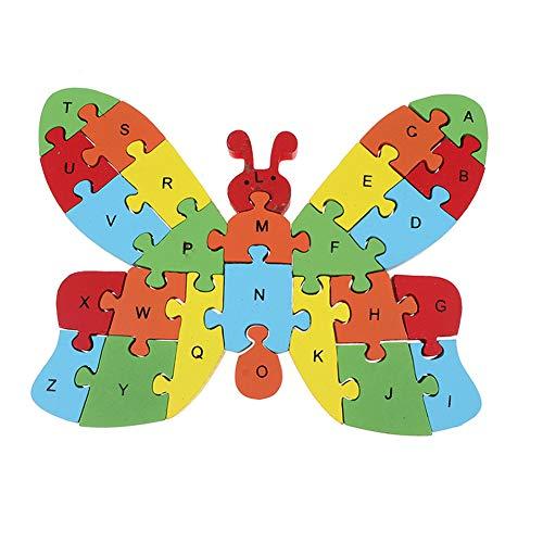 e, DIY Versammlung Hölzern Rätsel Tier Auto Alphabet Zahlen, Bildung Wicklung Spielzeug, Geeignet für die Förderung des Gedächtnisses von Kindern Schmetterling # ()