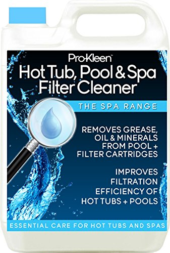5L of Pro-Kleen Hot Tub, Pool & Spa Filter Cartridge Cleaner - 10 Treatments - Improves Efficiency of Filter - Suitable for all Hot Tubs, Pools & Spas - Deeply Cleans and Removes Oils, Grease and Minerals Test