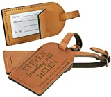 Luggage Tag for suitcases - Personalised Leather- Made in the UK from Genuine Leather - Honeymoon Mr&Mrs - L1009