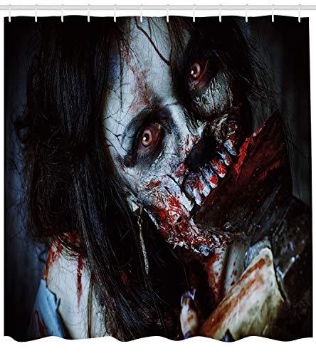 ABAKUHAUS Duschvorhang, Furchteinfliesende Tote Frau Zombie Blutige Axe Evil Fantasy Gothic Geheimnis Halloween Bild, Blickdicht aus Stoff inkl. 12 Ringe für Das Badezimmer Waschbar, 175 X 200 ()