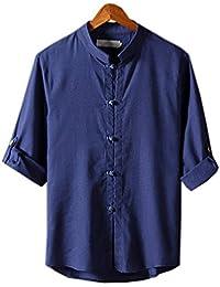 COCO clothing Herren Frühjahr Sommer Einfarbig Stehkragen Leinen Freizeit Hemd  Slim Fit Männer Dünne Langarmhemd 226c156815