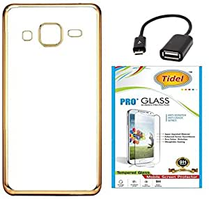 Tidel Golden border Soft Flexible TPU Back Cover for Samsung Galaxy J3 - Gold With Tidel 2.5D Curved Tempered Glass &OTG CABLE
