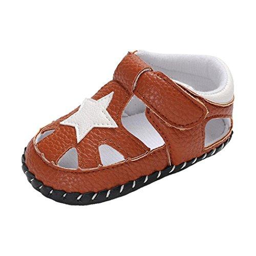 Babyschuhe cinnamou Sommer Sandale mit Weichen Sterne Krippe Schuhe Baby Leder Lauflernschuhe Junge Mädchen Kleinkind 0-6 Monate 6-12 Monate 12-18 Monate (0~6 Monate, Braun) (Baby Sohle Leder Schuhe Krippe)