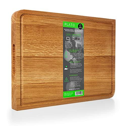 Natuhr Schneidebrett Plato Holz Eiche 43 x 32 x 4 cm extra dick Servierplatte
