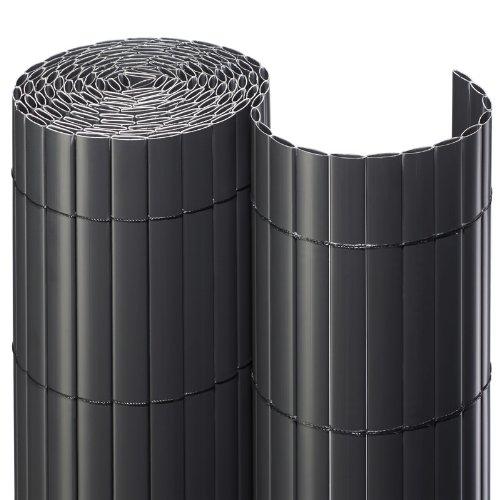 NOOR Sichtschutzmatte aus UV-stabilisiertem PVC für Garten, Balkon und Terrasse, abwaschbar, wasserfest und schimmelresistent, 3 m Länge x 1,60 Höhe, anthrazit