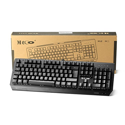 Mechanische tastatur, MECO Gaming Tastatur Key-Click Tasten, RGB, Ergonomischen Design, QWERTZ-Layout, 100% Wasserdicht, 105 Tasten Anti-Ghosting, Macro Recorder Mechaniche Tastatur - 8
