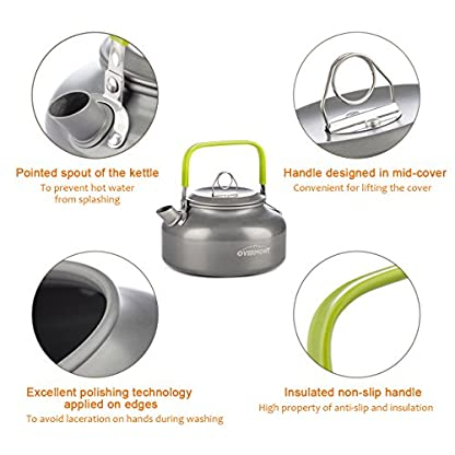 Overmont Ultralight Camping Cookware Set Outdoor Cooking Mess Kit Pots Pans Camp Kettle Portable for Backpacking Hiking Trekking Picnic Fishing Mountaineering 2