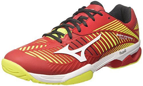 Mizuno Wave Exceed Tour 3 AC Scarpe da Tennis Uomo, Rosso (Marsred/White/Safety Yellow) 44 EU
