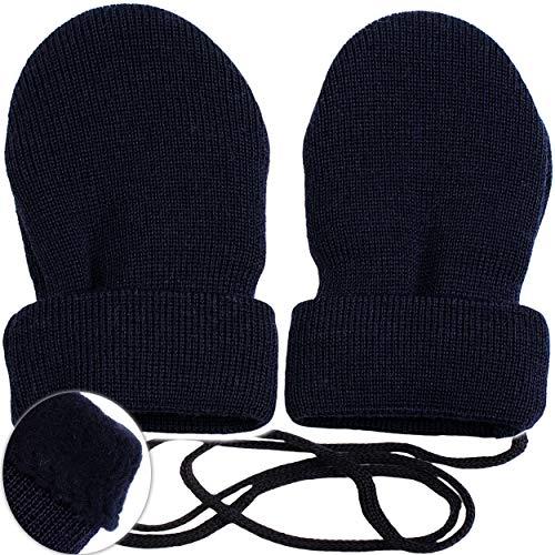 Preisvergleich Produktbild alles-meine.de GmbH sehr weiche _ Merino-Wolle Strick & Fleece - Fausthandschuhe - dunkel BLAU - Größe: 0 bis 6 Monate - Baumwolle & Schurwolle - Kinder / Baby - gefüttert - ..