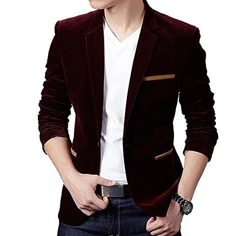 Men's Stylish Casual Soft Velvet Long Sleeve Slim Fit One Button Blazer (UK Medium (Asia 3XL),