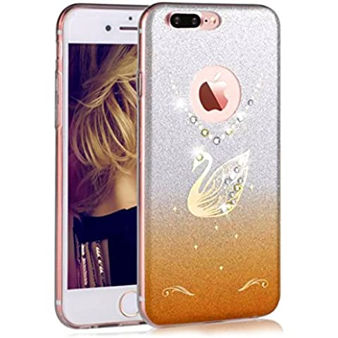 iPhone 7 Plus Custodia, Sunroyal® UltraSlim Bling Soft Mat TPU Silicone Case Cover Morbido Protettiva Cassa Cristallo Diamonte Cigno Back Cover Bumper per Apple iPhone 7 plus ( 5.5