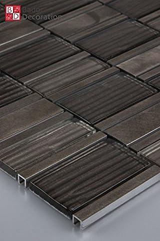 11Tapis 1m² Verre Carrelage carrelage mosaïque carreaux verre mosaïque Verre Aluminium Classic Marron