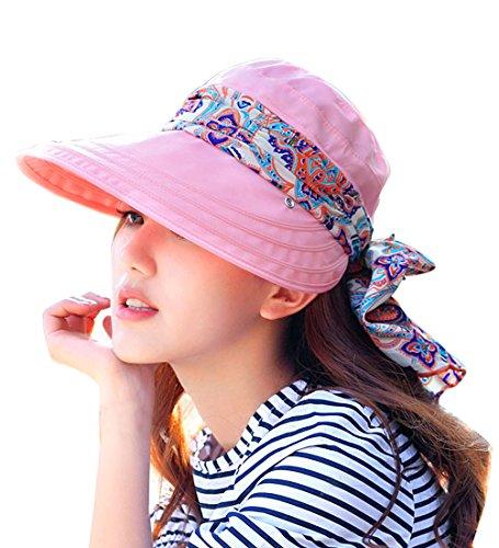 Kuyou Sommer Strand Hat Damen Outdoor Sport Hut Anti-UV Sonnenhut, Pink, Einheitsgröße