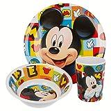 Mouse-19090 Mickey Mouse - Set desayuno melamina sin orla 3 piezas (Stor 19090) (