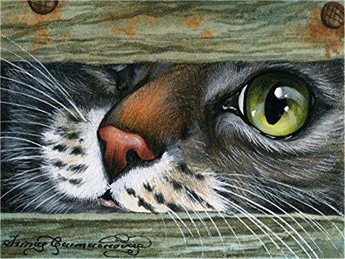 len für Erwachsene Anfänger, 16x 20cm, Katze mit großen Augen, mit Pinsel, Weihnachten, Dekorationen, Geschenke Frame ()