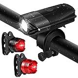 LED Fahrradbeleuchtung Set, USB Wiederaufladbare Fahradlicht Kit - 800 Lumen Super Bright LED Scheinwerfer & 2 Rückleuchten enthalten,Wasserdicht für MTB, Fahrräder
