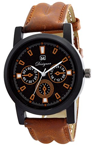 Om Designer Black Dial Analogue Brown Belt Watch for Mens & Boys OM-1