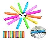 Aromaclips, Verschlussclips aus Kunststoff , Verschlussklammern in blau/gelb/grün/rot, 30 Stück