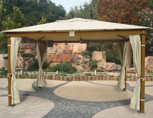 Cenador de madera con acabado Miel 3x 4mt con cortinas parasol lateral