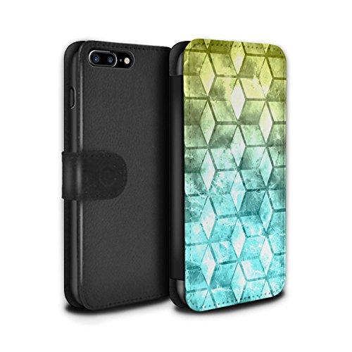 Stuff4 Coque/Etui/Housse Cuir PU Case/Cover pour Apple iPhone 7 Plus / Multipack Design / Cubes colorés Collection Jaun/Bleu