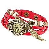 Taffstyle Damen-Armbanduhr Retro Vintage Geflochten Leder-Armband mit Charms Anhänger Analog Quarz Uhr Flügel Gold Rot