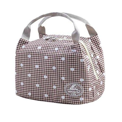 Rieovo 2017pranzo borse per donne floreale a strisce contenitore termico per pranzo picnic, Kids uomo Cooler Tote Gray Dot