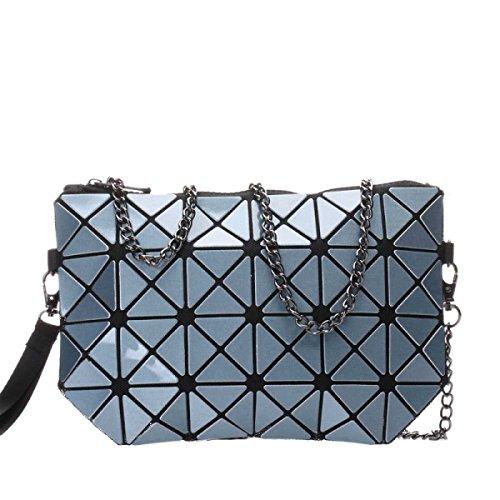 Frauen Hologram Geometric Cross Body-Umhängetasche Handtasche Cosmetic Bag Metalcolor