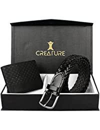 Creature Weaving Genuine Leather Belt For Men And Stylish Bi-fold Embossed Pu-Leather Wallet For Men Combos(BL...