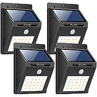 iPosible Foco Solar Led Exterior, [4 Paquetes] 20 LED Luces Solares Jardín Lámparas Solares de Pared Impermeable,1200mAh Luz de Solar Luces Exterior con Sensor de Movimiento para Patio,Camino