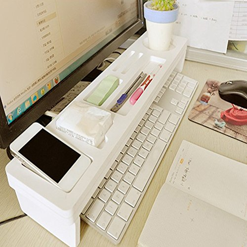 Kreatives Multifunktions-Computer-Schreibtisch-Zubehör, Holz, Schreibtisch-Organizer, Tastatur, Commodity Regal (weiß)