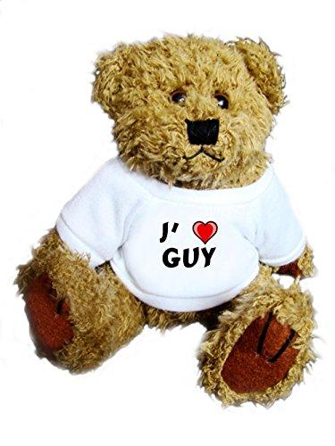 Ourson peluche avec un T-shirt: J'aime Guy (Noms/Prénoms)