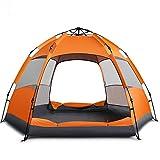 Automatisches Festzelt Zelt 3-5 Personen 5-8 Personen Sechseck Doppelzelt Im Freien Camping Regen Zelt,Orange(A)
