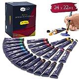 Artina Acrylfarben Set Crylic 24 Tuben je 22ml Künstlerfarben Malerei Acryl Farben Set - Premium Acryl Farbenset für Malen auf Keilrahmen