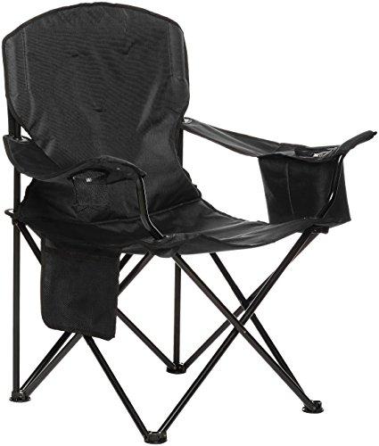 Amazonbasics - sedia da campeggio con tasca termica, nero (imbottita, xl)