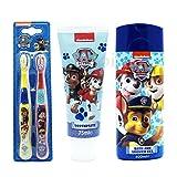 Paw Patrol 3-teiliges Badezimmer Geschenk Set–Badewanne und Dusche Gel, Zahnpasta & Twin Pack Zahnbürste Set