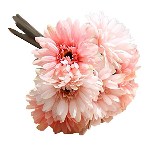 HUHU833 1 Strauß von 7 Künstliche Fake Blumen Gerbera Blumenstrauß Sträuße Fake Blume für Dekoration Wohnaccessoires & Deko (C)