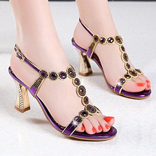bene diamond crystal impermeabile sandali i tacchi delle scarpe scarpe col tacco alto taiwan bocca di pesce di acqua Violet