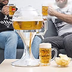 Idea Regalo - Spillatore Birra Sferico con Scomparto Ghiaccio da 3.5 Litri, Erogatore Birra e Altre Bevande, Mantiene i Liquidi Freschi, Dispenser e Refrigeratore di Bevande e Birra
