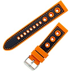 Silicone Grand Prix Racing Style Sports Watch Strap Band 24mm Orange/Black. Chrome (Silver Colour) Buckle