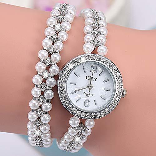 LLCOFFGA Damen Armbanduhr Mode Perle Uhr Strass Armreif Quarz Armbanduhren Armband Schmuck, Geschenke Zum Muttertag Zum Valentinstag,Silver