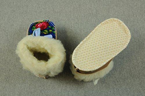 Baby Schuhe Wolle Winterschuhe 13 cm Natur Mädchen Girl Kleidung BBM (Rosa / Muster rot) Natur / Muster blau