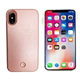 Gsy iPhone X Selfie Light iPhone Coque, Rechargeable à LED Flash d'éclairage Selfie Coque illuminé [intensité Variable commutateur] pour Apple iPhone X iPhone X Rose Gold